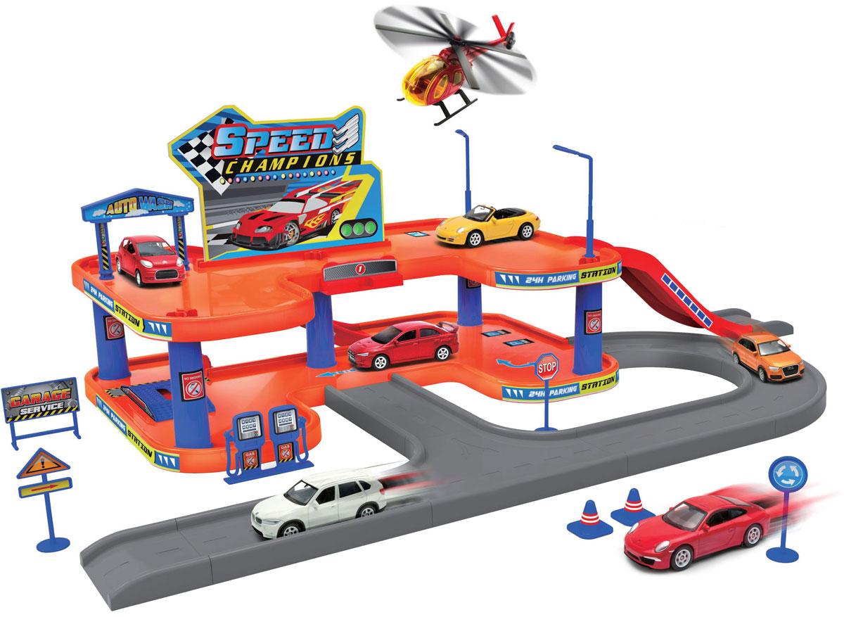 Welly Игровой набор Гараж с 4 машинами и вертолетом