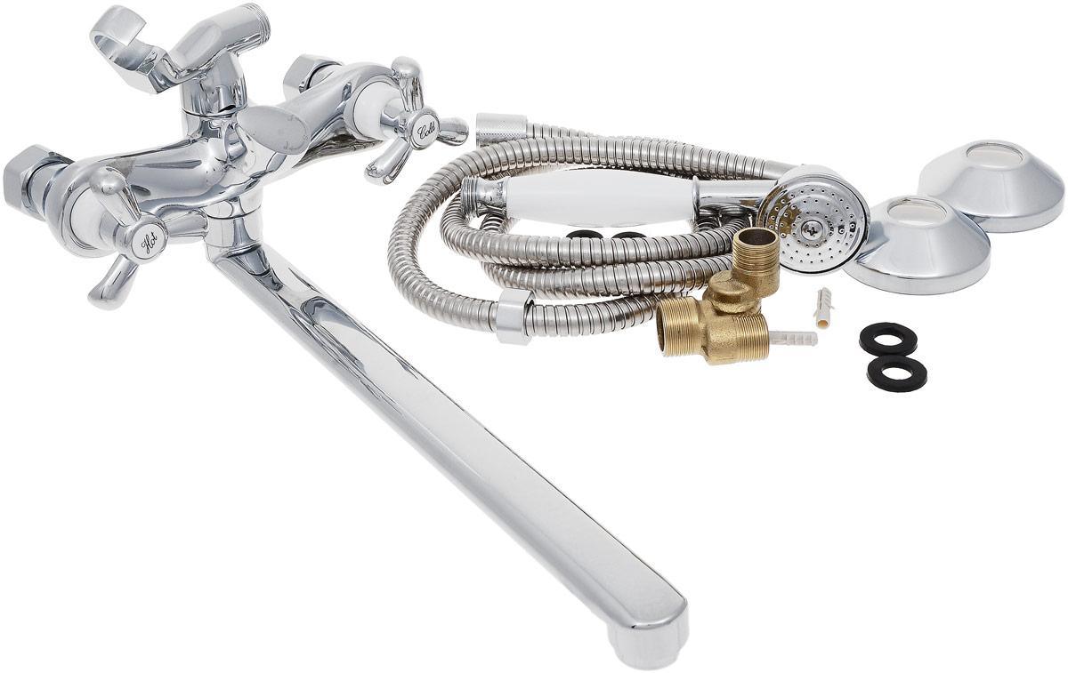 Смеситель для ванны и душа РМС, с длинным изливом, цвет: хром. SL62-140EBL505Двуручковый смеситель для ванной комнаты РМС предназначен для смешивания холодной и горячей воды. Выполнен из высококачественной латуни повышенной прочности, устойчивой к коррозии. Кран-букса латунная с керамическими пластинами, угол поворота 180°. Оснащен длинным изливом. Европереключение на душ. Аэратор выполнен из пластика. В комплекте: эксцентрики, отражатели, металлический шланг для душа 1,5 м, лейка для душа.Максимальное давление: 10 бар.Испытательное давление: 16 бар.Рекомендуемое давление: 1-5 бар, при давлении выше 6 бар рекомендуется использовать регулятор давления.Максимально допустимая температура: +80°С.Рекомендуемая температура: +65°С.Размер присоединения к угловому вентилю для умывальника: гайка 1/2.Кран-букса керамическая: 1/2.Длина излива: 35 см.