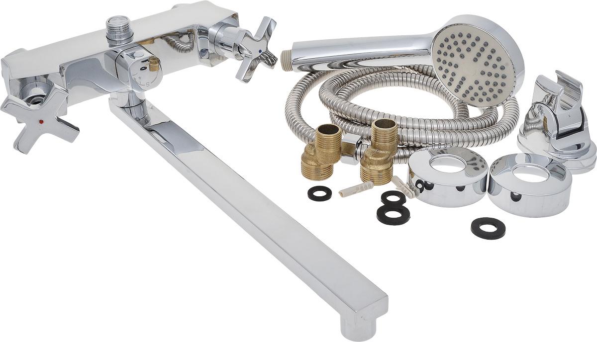 Смеситель для ванны РМС, с длинным поворотным изливом, цвет: хром. SL74-140E-1BL505Двуручковый смеситель для ванны и душа РМС выполнен из высококачественной латуни с хромированным покрытием. Предназначен для смешивания холодной и горячей воды, устанавливается в ванну и душ. Смеситель имеет евро-переключатель воды ванна/душ, а также 2 латунных кран-букса, длинныйизлив и пластиковый аэратор. В комплект входят 2 эксцентрика, 2 отражателя, металлический шланг для душа, лейка для душа, держатель для лейки и резиновые уплотнители.Длина шланга для душа: 1,5 м. Размер лейки для душа: 22,5 х 6 х 3 см.Размер смесителя: 23,5 х 11 х 7 см.