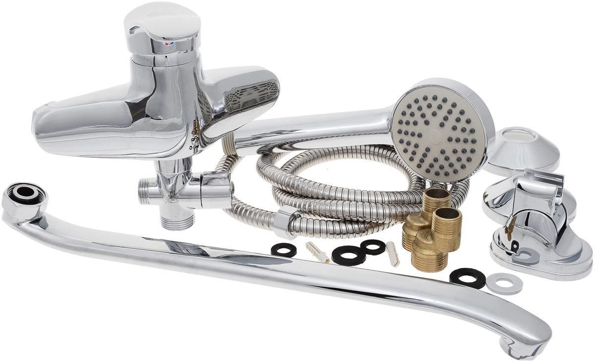Смеситель для ванны и душа РМС, с длинным поворотным изливом, цвет: хром. SL38-006SL77BN-004FBS-25Смеситель для ванны РМС с коротким изливом предназначен для смешивания холодной и горячей воды. Выполнен из высококачественной латуни марки MS63 (63% медь, 36% цинк, свинец, железо, сурьма, висмут, 1% фосфор). Такая латунь обладает повышенной прочностью, коррозионной стойкостью, твердостью и устойчивостью к щелочам и разбавленным кислотам. Смеситель оснащен керамическим картриджем. Смеситель находится в закрытом состоянии, если ручка опущена до отказа. Поднятием ручки регулируется напор воды, а поворотом ручки достигается регулирование степени температуры воды: влево - горячей, вправо - холодной. Преимущество одноручкового смесителя заключается в том, что установленная вами температура воды сохраняется, если ручка при закрытии и следующем открытии не поменяла свое положение. Благодаря большой твердости и износоустойчивости керамических пластинок одноручковые смесители дольше служат, чем традиционные. Аэратор выполнен из пластика. Переключение на душ - евро-дивертор. В комплекте: эксцентрики, отражатели, металлический шланг для душа длиной 1,5 м, пластиковая лейка для душа, крепление для лейки. Максимальное давление: 10 бар.Испытательное давление: 16 бар.Рекомендуемое давление: 1-5 бар, при давлении выше 6 бар рекомендуется использовать регулятор давления.Максимально допустимая температура: +80°С.Рекомендуемая температура: +65°С.Размер присоединения к угловому вентилю для умывальника: гайка 1/2.Кран-букса керамическая: 1/2. Размер картриджа: 40 мм.