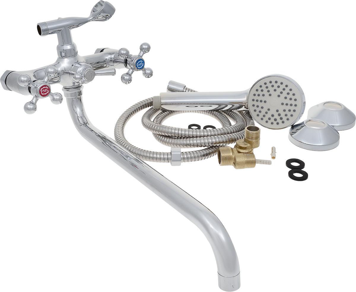 Смеситель для ванны РМС, с длинным поворотным изливом, цвет: хром. SL67-14368/5/3Смеситель для ванны РМС с длинным поворотным изливом предназначен для смешивания холодной и горячей воды. Латунные кран-буксы обеспечивают точную регулировку температуры воды за счет максимального поворота на 180°. Хромоникелевое покрытие придает изделию яркий металлический блеск и эстетичный внешний вид. Устойчив к кислотным и щелочным чистящим средствам. Выполнен из высококачественной латуни марки MS63 (63% медь, 36% цинк, свинец, железо, сурьма, висмут, 1% фосфор). Шаровое переключение на душ. Максимальное давление: 10 бар.Испытательное давление: 16 бар.Рекомендуемое давление: 1-5 бар, при давлении выше 6 бар рекомендуется использовать регулятор давления.Максимально допустимая температура: +80°С.Рекомендуемая температура: +65°С.Размер присоединения к угловому вентилю для умывальника: гайка 1/2.Кран-букса керамическая: 1/2.