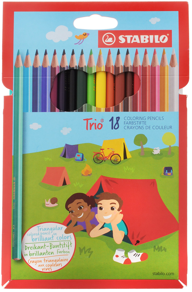 Stabilo Набор цветных карандашей Trio 18 штFS-00897Серия цветных карандашей STABILO Trio. Трехгранная форма карандаша предотвращает усталость детской руки при рисовании и позволяет привить ребенку навык правильно держать пишущий инструмент. Карандаши имеют широкую гамму цветов, которые отлично смешиваются и позволяют создавать огромное количество оттенков. Насыщенные цвета имеют высокую светостойкость. В состав грифелей входит пчелиный воск, благодаря чему грифели легко рисуют на бумаге, не царапая ее и не крошась, и обладают повышенной устойчивостью к нагрузкам. Карандаши не ломаются при рисовании и затачивании.