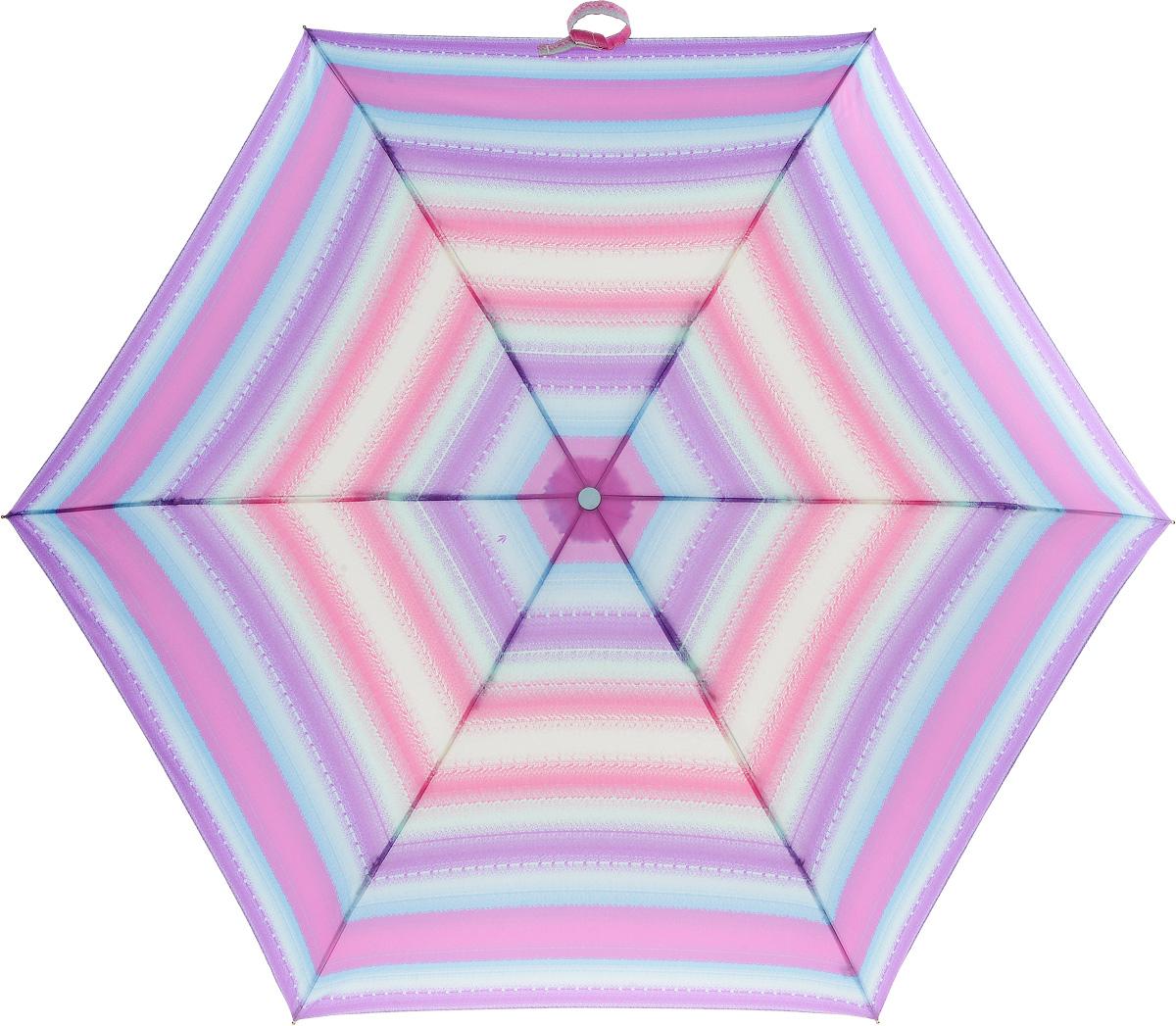 Зонт женский Fulton Superslim, механический, 3 сложения, цвет: мультиколор. L553-2753Колье (короткие одноярусные бусы)Стильный механический зонт Fulton Superslim в 3 сложения даже в ненастную погоду позволит вам оставаться элегантной. Облегченный каркас зонта выполнен из 6 спиц из фибергласса и алюминия, стержень также изготовлен из алюминия, удобная рукоятка - из пластика. Купол зонта выполнен из прочного полиэстера. В закрытом виде застегивается хлястиком на липучке. Яркий оригинальный рисунок в полоску поднимет настроение в дождливый день.Зонт механического сложения: купол открывается и закрывается вручную до характерного щелчка.На рукоятке для удобства есть небольшой шнурок, позволяющий надеть зонт на руку тогда, когда это будет необходимо. К зонту прилагается чехол, который застегивается на липучку. Чехол оформлен металлическим элементом с названием бренда. Такой зонт компактно располагается в кармане, сумочке, дверке автомобиля.
