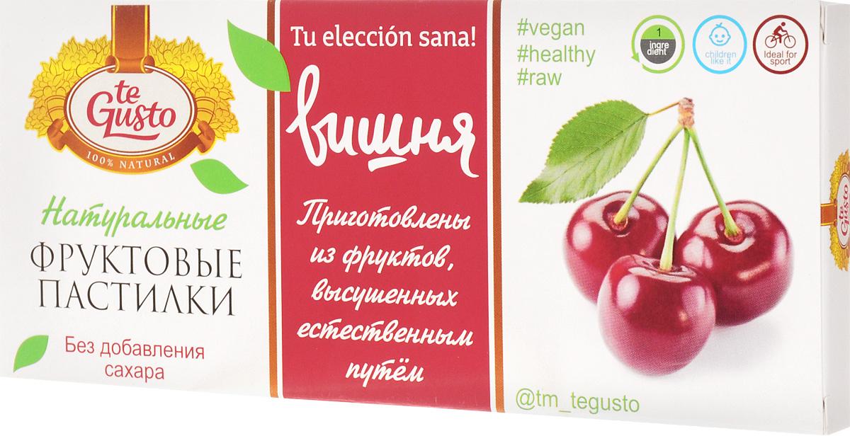 te Gusto Фруктовые пастилки из вишни, 40 г0120710Фруктовые пастилки te Gusto без ГМО, глютена, сои, сахара, фруктозы, красителей, усилителей вкуса, загустителей. В составе только один ингредиент - плод, выращенный в экологически чистом районе. Особый способ измельчения плодов позволяет сохранить витамины в первозданном виде. Данный продукт создан для людей, ведущих здоровый образ жизни и уделяющих большое внимание своему питанию. Для спортсменов - это полезный и питательный перекус, для вегетарианцев - сладость, не содержащая продуктов животного происхождения, для детей - натуральное лакомство, которое, единожды попробовав, они предпочитают шоколадкам, и для всех, вне зависимости от возраста и систем питания, - здоровый продукт без красителей, консервантов и подсластителей.