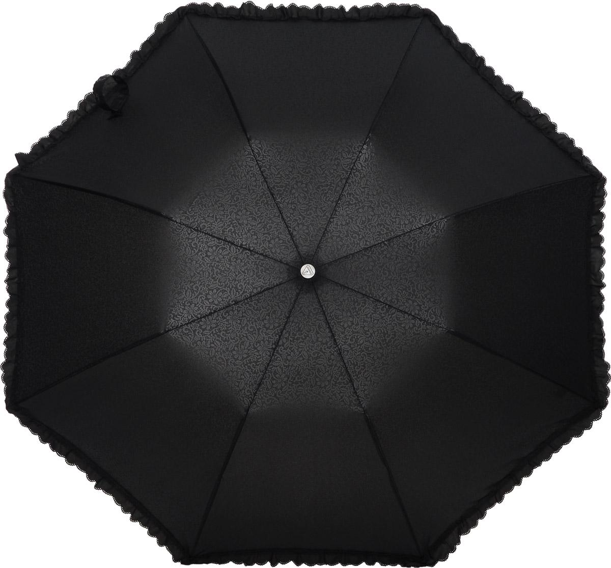 Зонт женский Fulton Contessa-2, механический, 2 сложения, цвет: черный. L731-2761REM12-CAM-GREENBLACKСтильный механический зонт Fulton Contessa-2 в 2 сложения даже в ненастную погоду позволит вам оставаться элегантной. Облегченный каркас зонта выполнен из 8 стальных спиц, стержень также изготовлен из стали, удобная рукоятка - из пластика, обтянутого натуральной кожей. Купол зонта выполнен из прочного полиэстера и оформлен изящным принтом и по краю декорирован оборкой. В закрытом виде застегивается хлястиком на липучку. Зонт механического сложения: купол открывается и закрывается вручную до характерного щелчка. К зонту прилагается чехол на кнопке.Такой зонт станет прекрасным аксессуаром для любой модницы.