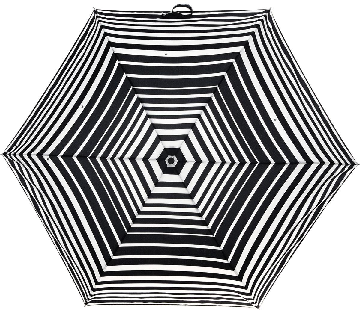 Зонт женский Fulton Superslim, механический, 3 сложения, цвет: черный, белый. L553-3154П300020005-20Стильный механический зонт Fulton Superslim в 3 сложения даже в ненастную погоду позволит вам оставаться элегантной. Облегченный каркас зонта выполнен из 6 спиц из фибергласса и алюминия, стержень также изготовлен из алюминия, удобная круглая рукоятка - из пластика. Купол зонта выполнен из прочного полиэстера и оформлен принтом в полоску. В закрытом виде застегивается хлястиком на липучку. Зонт механического сложения: купол открывается и закрывается вручную до характерного щелчка. На рукоятке для удобства есть небольшой шнурок, позволяющий при необходимости надеть зонт на руку. К зонту прилагается чехол, который дополнительно застегивается на липучку.Такой зонт компактно располагается в глубоком кармане, сумочке, дверке автомобиля.