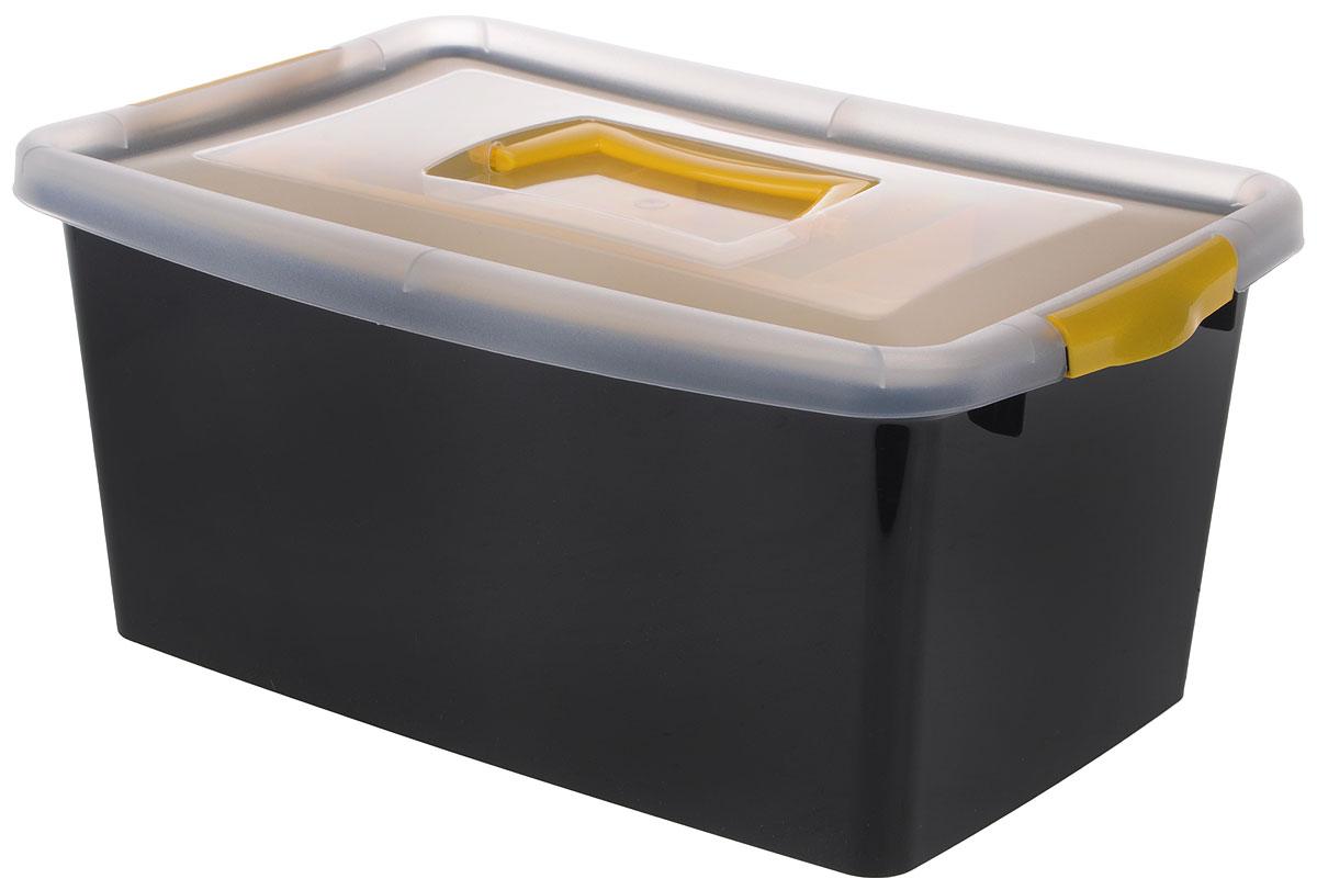 Контейнер для хранения Idea, с вкладышем, цвет: черный, прозрачный, желтый, 9 л74-0120Контейнер для хранения Idea выполнен из высококачественного полипропилена. Изделие оснащено двумя пластиковыми фиксаторами по бокам, придающими дополнительную надежность закрывания крышки. Вместительный контейнер позволит сохранить различные нужные вещи в порядке, а герметичная крышка предотвратит случайное открывание, защитит содержимое от пыли и грязи. Внутри имеется съемный вкладыш с одним большим отделением и тремя поменьше.Объем: 9 л.Размер контейнера (с учетом крышки): 36,8 х 24,3 х 17 см.
