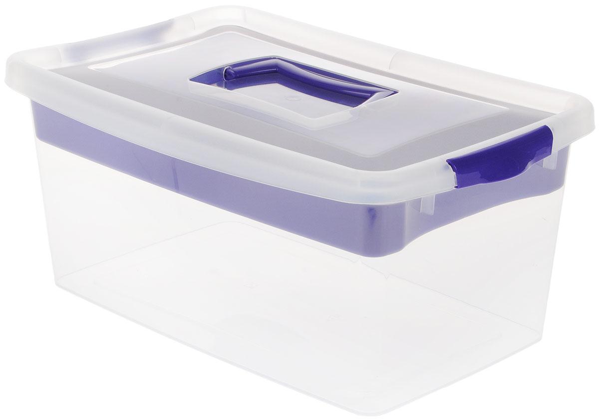 Контейнер для хранения Idea, с вкладышем, цвет: прозрачный, фиолетовый, 9 л6113MКонтейнер для хранения Idea выполнен из высококачественного полипропилена. Изделие оснащено двумя пластиковыми фиксаторами по бокам, придающими дополнительную надежность закрывания крышки. Вместительный контейнер позволит сохранить различные нужные вещи в порядке, а герметичная крышка предотвратит случайное открывание, защитит содержимое от пыли и грязи. Внутри имеется съемный вкладыш с одним большим отделением и тремя поменьше.Объем: 9 л.Размер контейнера (с учетом крышки): 36,8 х 24,3 х 17 см.
