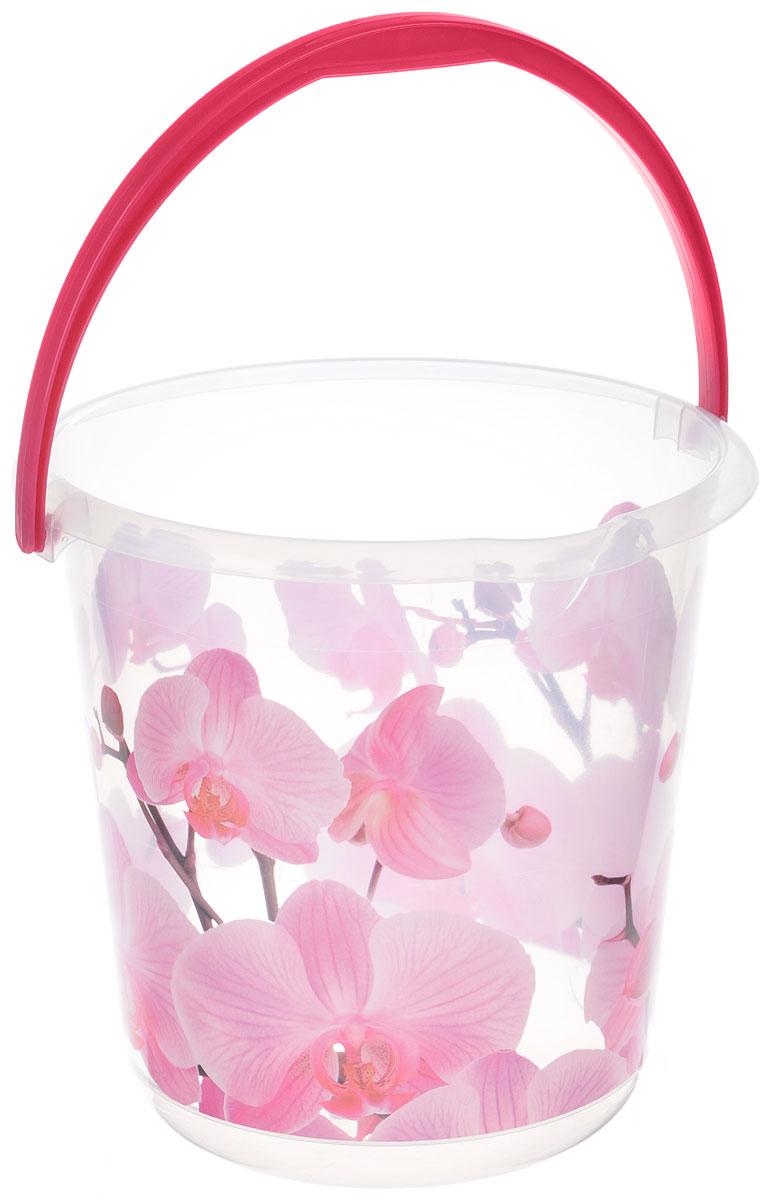 Ведро Idea Деко. Орхидея, 5 л391602Ведро Idea Деко. Орхидея изготовлено из высококачественного пластика. Оно легче железного и не подвержено коррозии. Для удобства использования ведро оснащено пластиковой ручкой. Ведро предназначено для бытовых нужд.Диаметр ведра: 20,5 см.Высота стенки: 22 см.
