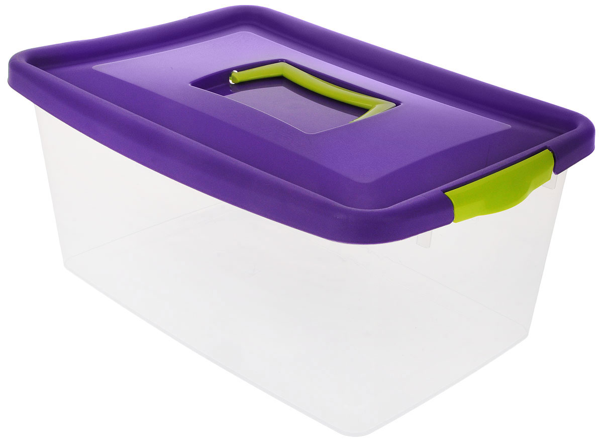 Контейнер для хранения Idea, цвет: прозрачный, фиолетовый, салатовый, 9 лМ 2872_фиолетовыйКонтейнер для хранения Idea выполнен из высококачественного полипропилена. Изделие оснащено двумя пластиковыми фиксаторами по бокам, придающими дополнительную надежность закрывания крышки. Вместительный контейнер позволит сохранить различные нужные вещи в порядке, а герметичная крышка предотвратит случайное открывание, защитит содержимое от пыли и грязи. Объем: 9 л.Размер контейнера (с учетом крышки): 36,8 х 24,3 х 17 см.