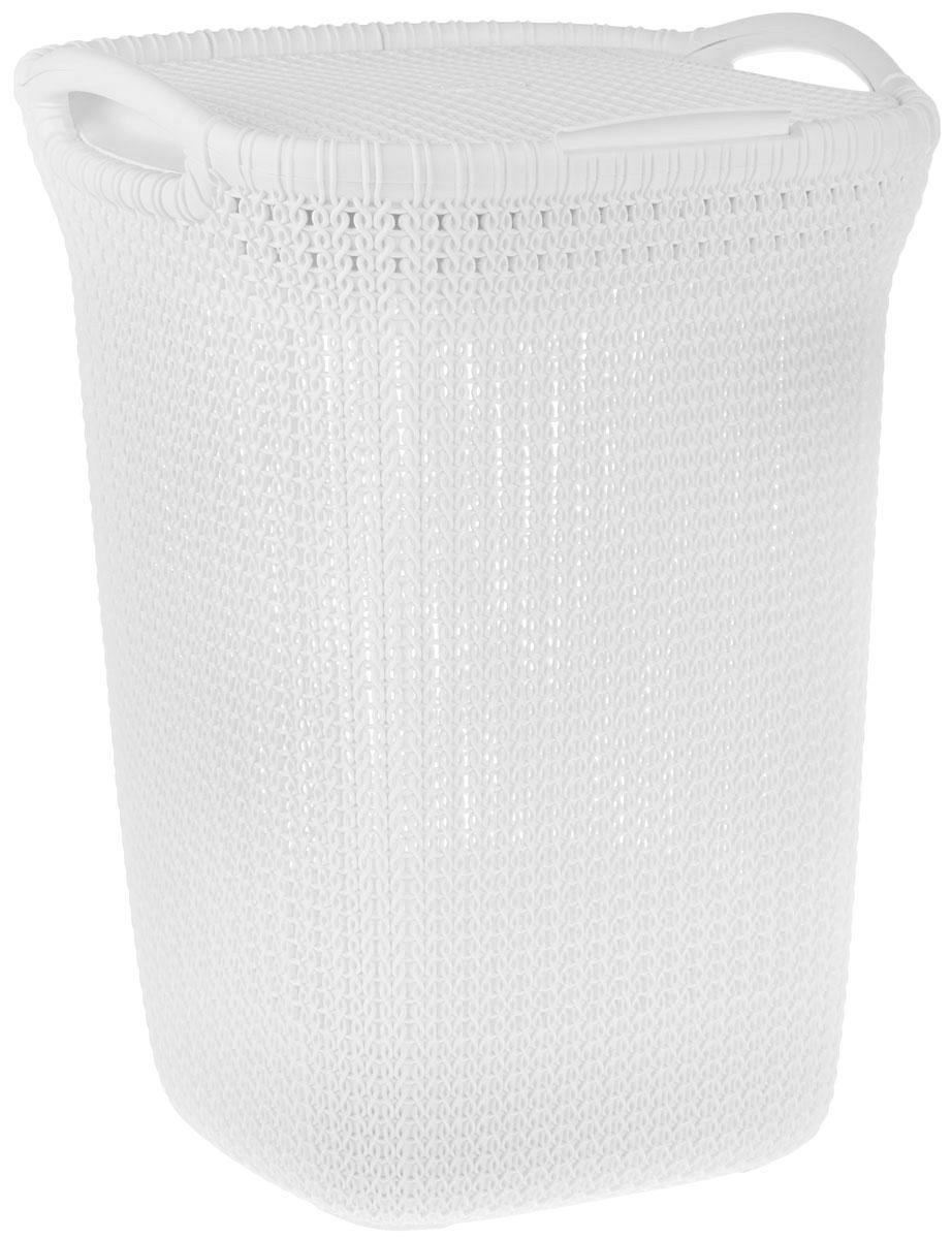 Корзина для белья Curver Knit, цвет: молочный, 57 л68/5/4Корзина для белья Curver Knit изготовлена из пластика с эффектом плетения. Изделие снабжено двумя ручками для удобной переноски и плотно закрывающейся откидной крышкой. Благодаря перфорированным стенкам воздух проникает внутрь, что способствует вентиляции. Такая корзина прекрасно подойдет для хранения белья перед стиркой. Стильный дизайн впишется в интерьер любой ванной комнаты.