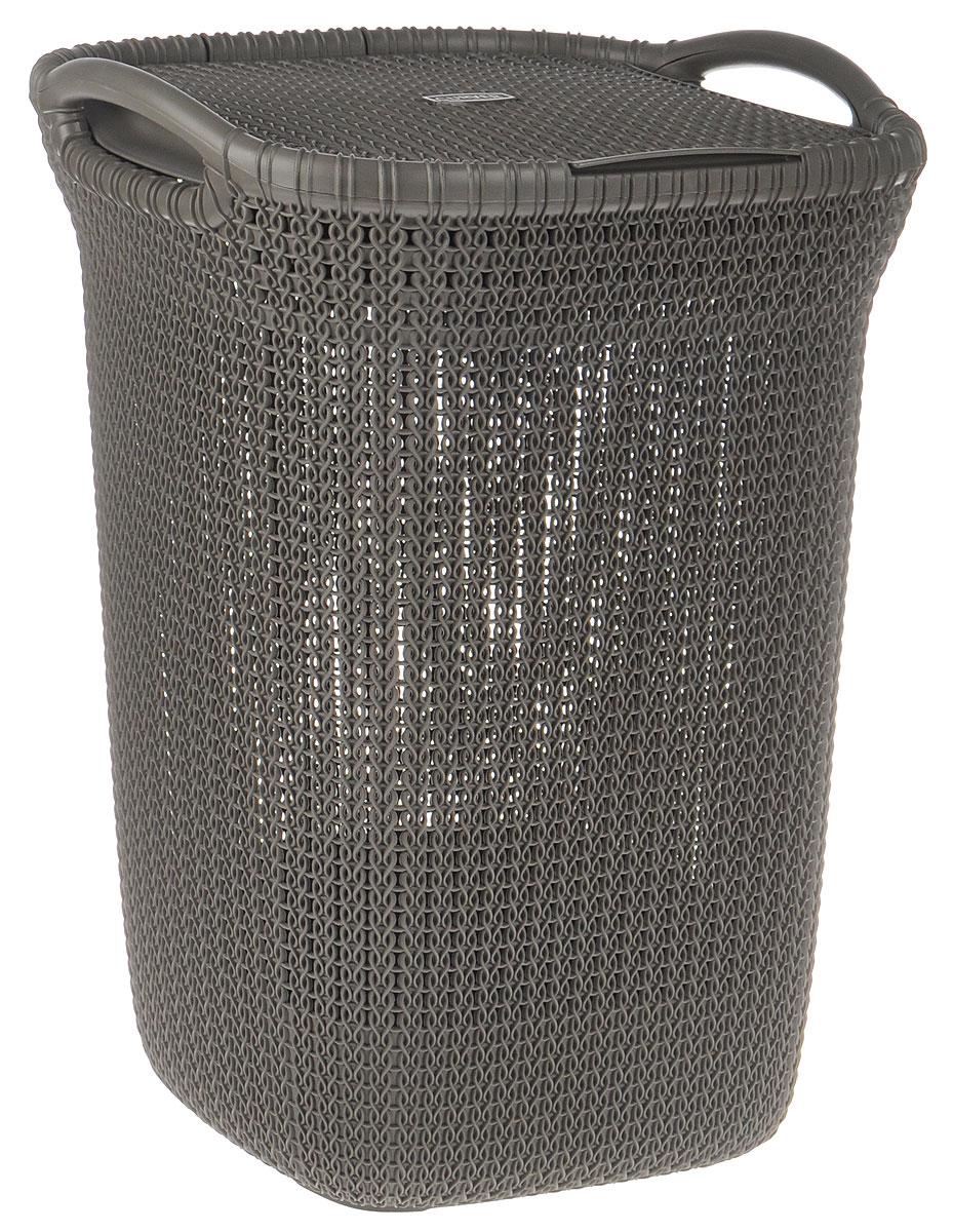 Корзина для белья Curver Knit, цвет: серо-коричневый, 57 л03676-X59-00Корзина для белья Curver Knit изготовлена из пластика с эффектом плетения. Изделие снабжено двумя ручками для удобной переноски и плотно закрывающейся откидной крышкой. Благодаря перфорированным стенкам воздух проникает внутрь, что способствует вентиляции. Такая корзина прекрасно подойдет для хранения белья перед стиркой. Стильный дизайн впишется в интерьер любой ванной комнаты.