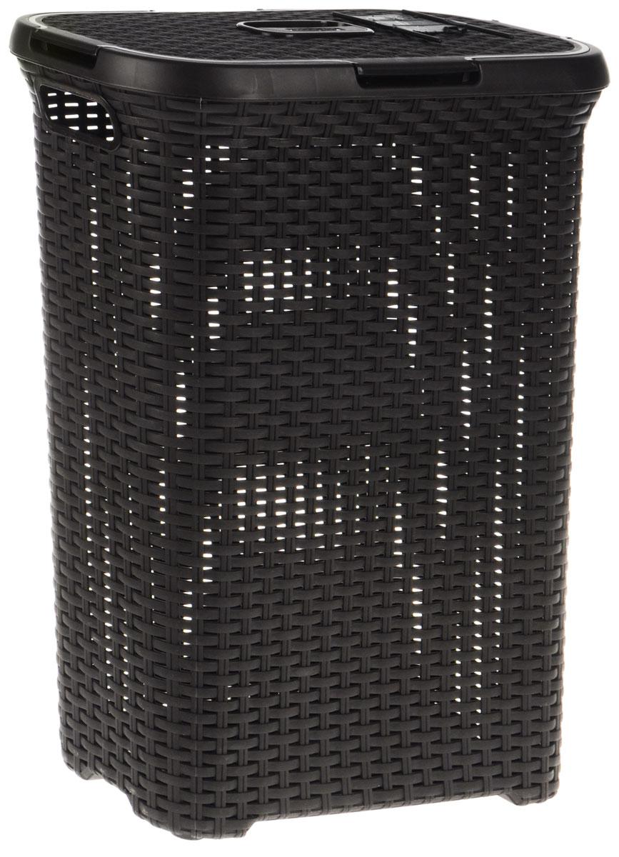 Корзина для белья Curver Rattan Style, цвет: темно-коричневый, 40 л2200Корзина для белья Curver Rattan Style изготовлена из прочного полипропилена. Она отлично подойдет для хранения белья перед стиркой. Специальные отверстия на стенках создают идеальные условия для проветривания. Изделие оснащено удобными ручками. Крышка открывается в двух положениях.Такая корзина для белья прекрасно впишется в интерьер ванной комнаты.Размер корзины: 45 х 27 х 61 см.