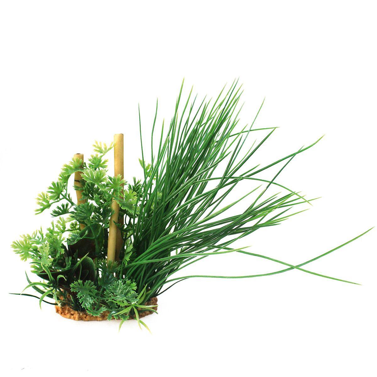Композиция из растений для аквариума ArtUniq Лютик водный с бамбуком, высота 20 см0120710Композиция из искусственных растений ArtUniq превосходно украсит и оживит аквариум.Растения - это важная часть любой композиции, они помогут вдохнуть жизнь в ландшафт любого аквариума или террариума. Композиция является точной копией природного растения.