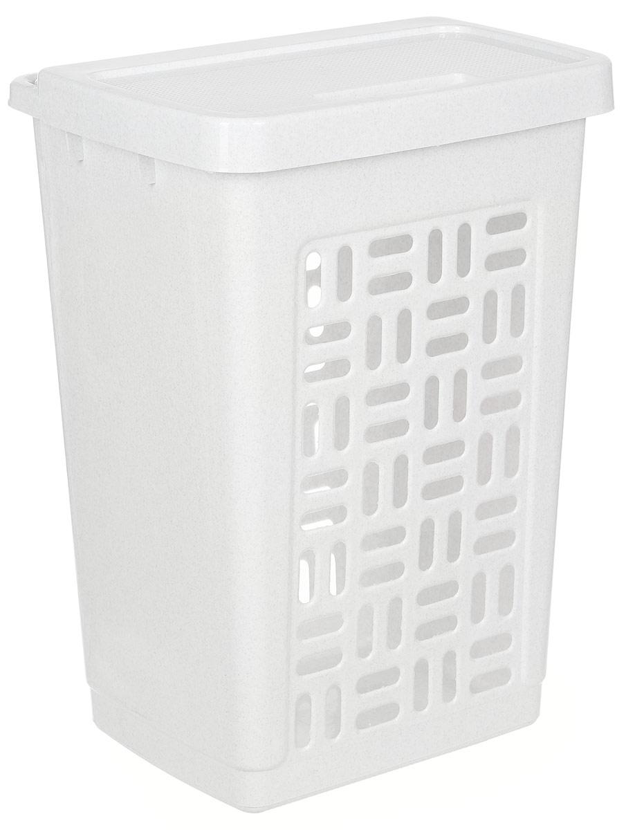 Корзина для белья Idea, цвет: мраморный, 60 л12723Вместительная корзина для белья Idea изготовлена из прочного пластика. Она отлично подойдет для хранения белья перед стиркой. Специальные отверстия на стенках создают идеальные условия для проветривания. Изделие оснащено крышкой. Такая корзина для белья прекрасно впишется в интерьер ванной комнаты.Размер корзины: 44 х 35 х 59 см.