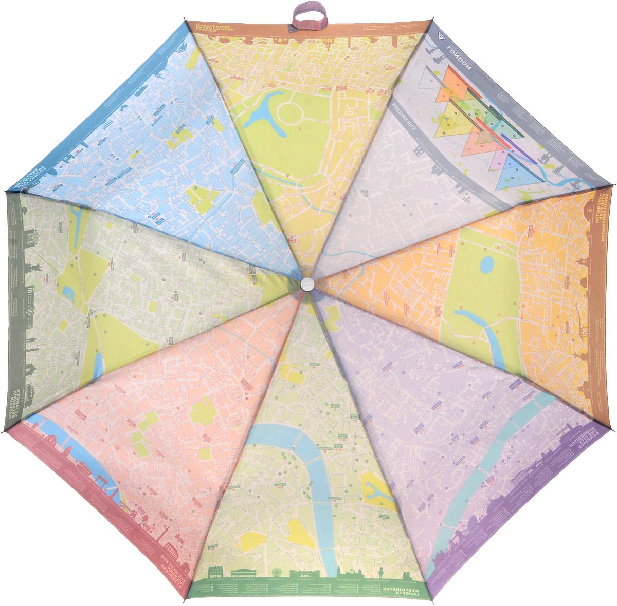 """Зонт женский Fulton London Map, механический, 3 сложения, цвет: белый45102176/33205/7900XСтильный складной зонт Fulton """"London Map"""" даже в ненастную погоду позволит вам оставаться женственной и элегантной. """"Ветростойкий"""" стальной каркас зонта в 3 сложения состоит из восьми металлических спиц, стержень изготовлен из стали. Зонт оснащен удобной рукояткой из прорезиненного пластика. Купол зонта выполнен из прочного полиэстера белого цвета и с внутренней стороны оформлен изображением карты Лондона. На рукоятке для удобства есть небольшой шнурок, позволяющий надеть зонт на руку тогда, когда это будет необходимо. К зонту прилагается чехол.Зонт механического сложения: купол открывается и закрывается вручную, стержень также складывается вручную до характерного щелчка. Характеристики: Материал: металл, полиэстер, пластик. Цвет: белый. Диаметр купола: 96 см. Длина зонта в сложенном виде: 25 см. Длина ручки (стержня) в раскрытом виде:56 см.Вес: 350 г.Артикул:L761 3S2396."""