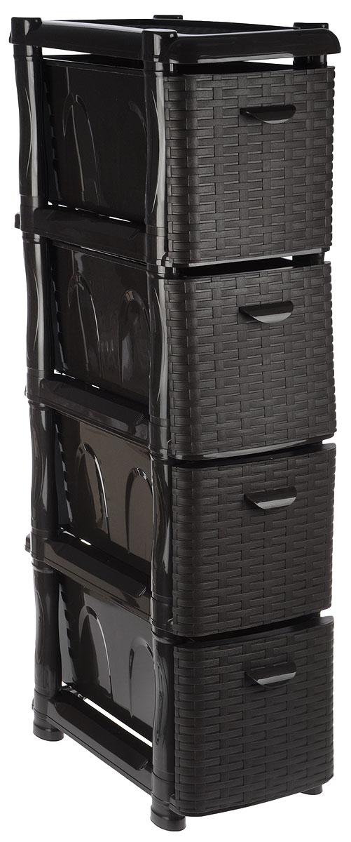 Комод Idea Ротанг, цвет: темно-коричневый, 46 х 26 х 104 см300148_розовыйКомод Idea Ротанг изготовлен из высококачественного пластика. Ящики оформлены плетеными элементами. Комод предназначен для хранения различных вещей и состоит из четырех вместительных выдвижных секций. Такой необычный и яркий комод надежно защитит вещи от загрязнений, пыли и моли, а также позволит вам хранить их компактно и с удобством.Размер комода: 46 х 26 х 104 см.Размер ящика: 46 х 20 х 20 см.