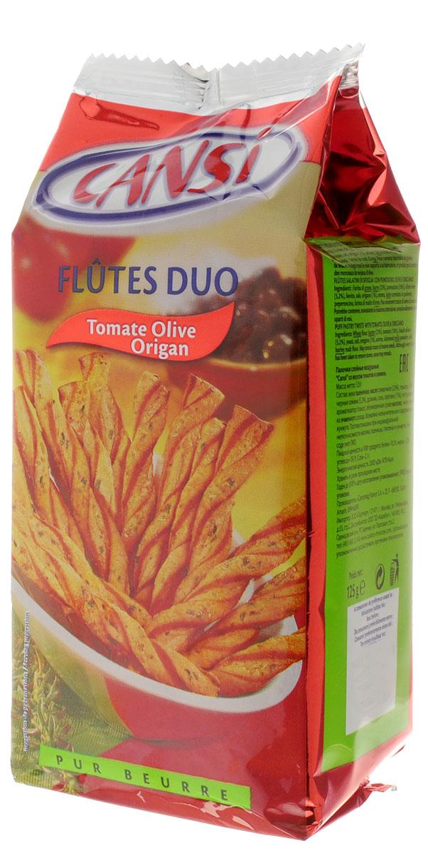 Cansi Палочки слоеные воздушные со вкусом томатов и оливок, 125 г0120710Палочки слоеные воздушные со вкусом томатов и оливок Cansi - очень быстрый, вкусный перекус или, если хотите - закуска. Можно похрустеть, просматривая любимый фильм в кругу семьи, а можно купить для дружеской пивной посиделки.Продукт натуральный, изготовлен по французской технологии из пшеничной муки высшего сорта.Палочки Cansi рекомендуется употреблять в качестве десерта, закуски или в сочетании с кофе или чаем, а также как дополнение к супам.Уважаемые клиенты! Обращаем ваше внимание, что полный перечень состава продукта представлен на дополнительном изображении.