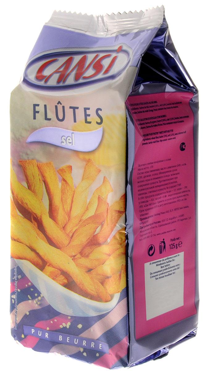 Cansi Палочки слоеные воздушные с солью, 125 г0120710Очень быстрый, вкусный перекус или, если хотите - закуска. Можно похрустеть, просматривая любимый фильм в кругу семьи, а можно купить для дружеской пивной посиделки. Продукт изготовлен по французской технологии из пшеничной муки. Палочки Cansi рекомендуется употреблять в качестве десерта, закуски или в сочетании с кофе или чаем, а также как дополнение к супам.Не содержит ГМИ.Уважаемые клиенты! Обращаем ваше внимание, что полный перечень состава продукта представлен на дополнительном изображении.