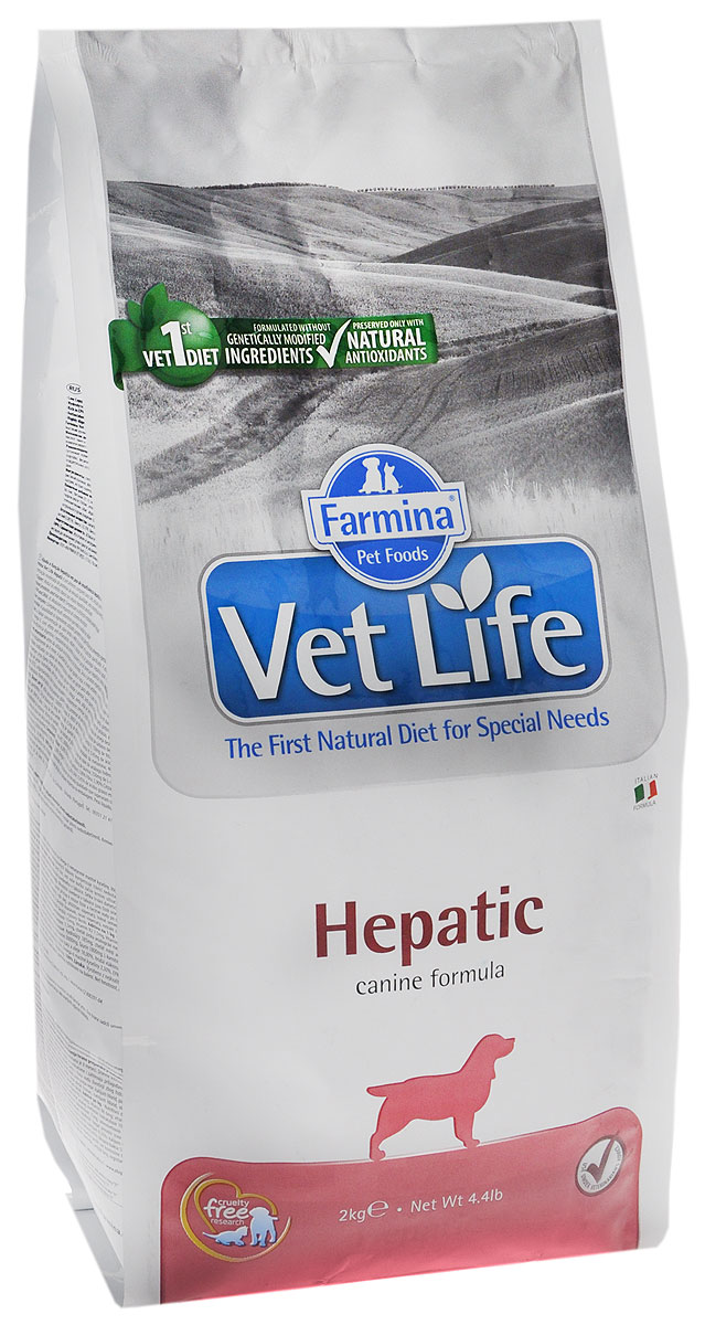 Корм сухой Farmina Vet Life, для собак при хронической печеночной недостаточности, диетический, 2 кг512287Сухой корм Farmina Vet Life - диетическое питание для собак с хронической печеночной недостаточностью. Диета содержит ограниченное количество белка высокого качества, высокий уровень полиненасыщенных жирных кислот и высокий уровень легко усваиваемых углеводов. Низкое потребление меди ограничивает токсическое воздействие на поврежденное гепатоциты. Повышенное содержание полиненасыщенных жирных кислот омега-3 обеспечивает противовоспалительное действие и улучшает симптоматику при острых гепатопатиях. Присутствие в диете крахмала и гидролизата белка компенсирует недостаточность пищеварения (белкового и углеводного обмена) в случае хронической печеночной недостаточности.Товар сертифицирован.