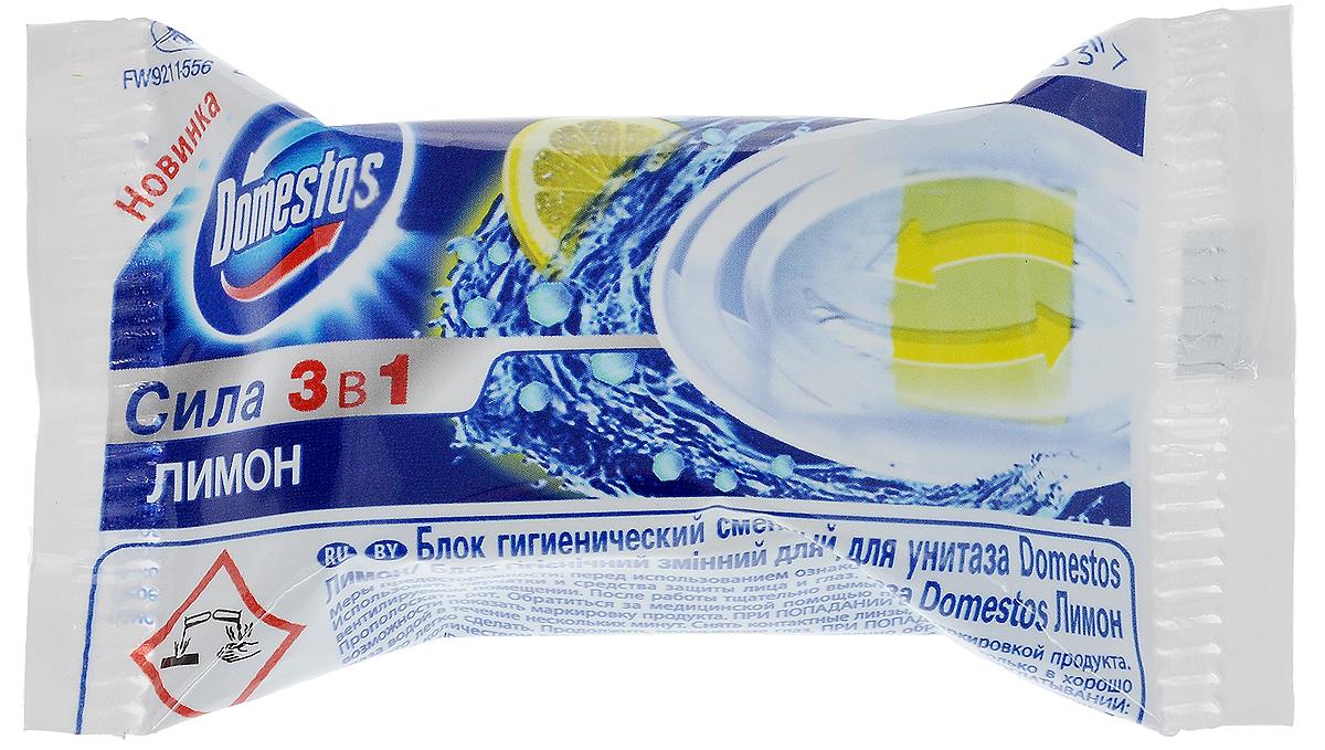 Блок гигиенический Domestos Лимон, сменный, 40 г391602Сменный гигиенический блок для унитаза Domestos Лимон - оптимальное решение для обеспечения не только чистоты и гигиены, но и свежести в вашем туалете. Domestos устраняет источник бактерий, предотвращает появление известкового налета, обеспечивает свежий аромат благодаря парфюмированной гелевой полосе. Обеспечит гигиену в туалете при каждом смыве. Легко заменяется. Состав: более 30% анионные ПАВ, 5-15% отдушка, менее 5%: ароматические углеводороды, фосфаты, лимонен, 2-(4-третбутилбензил) пропиональдегид, гераниол, цитраль, 3-Метил-4-(2,6,6-триметил-2-циклогексен-1-ил)-3-бутен-2-он, бензиновый спирт, гексилциннамаль, линалоол, цитронеллол. Товар сертифицирован.