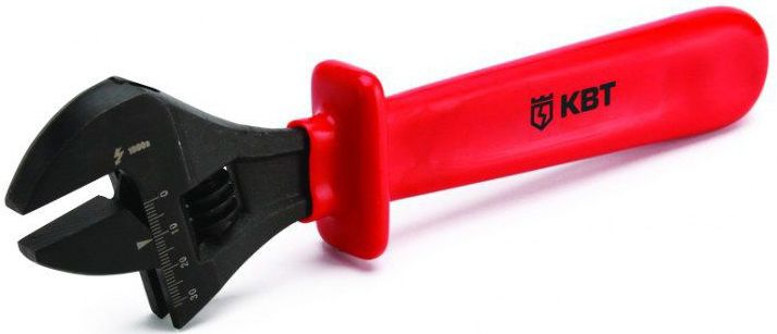 Ключ разводной изолированный КВТ 30 мм до 1000ВCA-3505Для работы под напряжением до 1000 ВМаксимальный развод: 30 ммМиллиметровая измерительная шкалаМатериал рабочей части: инструментальная хром-ванадиевая стальОбработка поверхности: воронениеМатериал рукояток: диэлектрическая пластизоль VDE-стандартУпор на рукоятке обеспечивает защиту от соскальзыванияВес: 560 гДлина: 260 мм