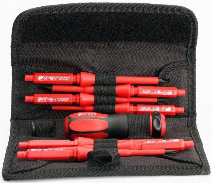 Набор диэлектрических инструментов КВТ НИО-1107, с чехлом, 9 предметов61949Набор диэлектрических отверток КВТ НИО-1107 выполнен из хром-молибденовой стали и предназначен для работы под напряжением до 1000 В.На каждой отвертке имеется маркировка типоразмера и вороненые намагниченные наконечники. Материал изоляции стержня: полипропилен. Двухкомпонентная рукоятка выполнена из термопластрезины с мягкими вставками. Набор имеет надежный поворотный механизм фиксации рукоятки.Набор инструментов КВТ НИО-1107 упакован в прочную раскладывающуюся сумку с широкой застежкой-липучкой и петлей под ремень для ношения на поясе.Состав набора:- отвертка: шлиц 3.0х100,- отвертка: шлиц 4.0х100,- отвертка: шлиц 5.5х100,- отвертка: шлиц 6.5х100,- отвертка: PH0х100,- отвертка: PH1х100,- отвертка: PH2х100,- рукоятка для сменных отверток,- вращающаяся насадка на стержни для работ с электроникой.