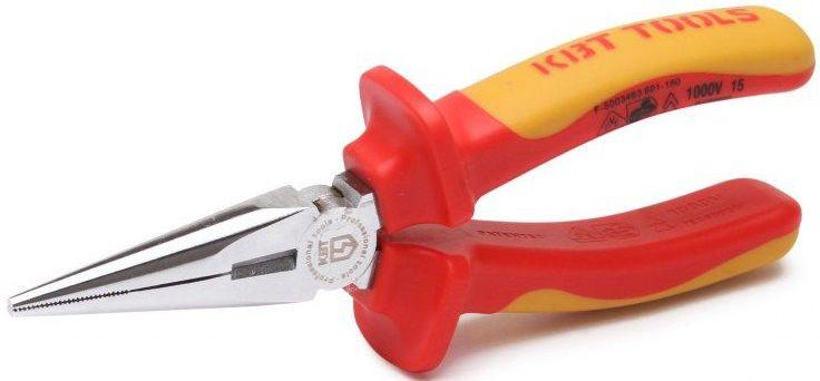Длинногубцы изолированные КВТ Профи 160 ммCA-3505Для работы под напряжением до 1000 ВПредназначены для работ в труднодоступных местах и точной механикеЗахватные губки с зубцами и режущими кромками для среднетвердой и твердой проволокиРежущие кромки дополнительно закалены токами высокой частоты. HRC 58...64Материал рабочей части: хром-ванадиевая стальОбработка поверхности: хромированиеДвухцветные многокомпонентные рукоятки с упорами для защиты от соскальзыванияДлина 160 ммВес 162 г