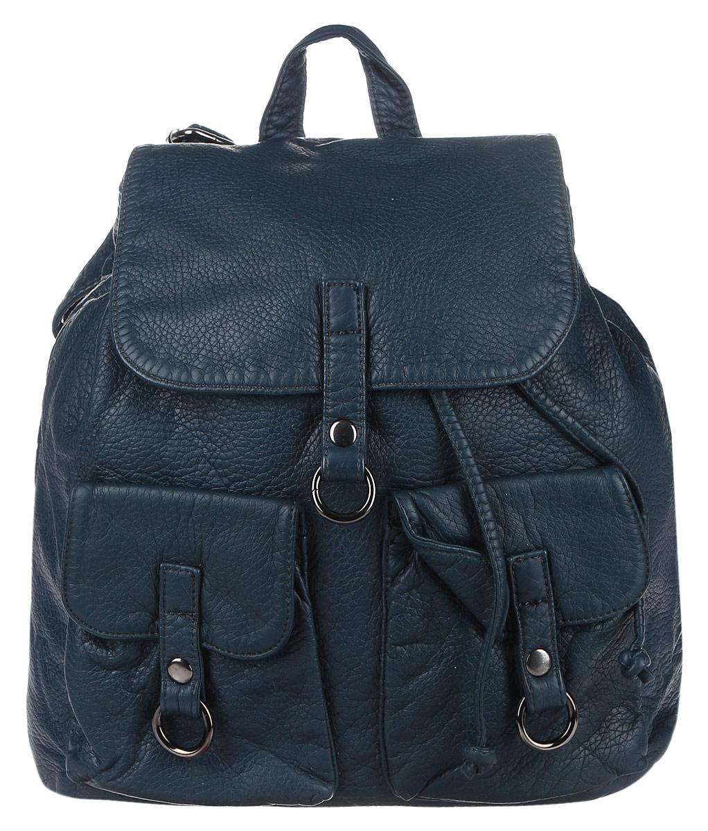 Рюкзак женский OrsOro, цвет: синий. D-254/2INT-06501Стильный рюкзак OrsOro, выполнен из экокожи и оснащен двумя плечевыми регулируемыми ремнями на спинке и удобной ручкой для переноски. Изделие закрывается клапаном на кнопку, внутри имеет одно вместительное отделение с одним накладным карманом для телефона и мелочей и одним прорезным карманом на застежке-молнии. С тыльной стороны изделия имеется прорезной карман на застежке-молнии. Рюкзак оснащен также передними накладными карманами, которые закрываются с помощью небольших клапанов на кнопки.Сумка-рюкзак OrsOro - это выбор молодой, уверенной, стильной женщины, которая ценит качество и комфорт. Изделие станет изысканным дополнением к вашему образу.