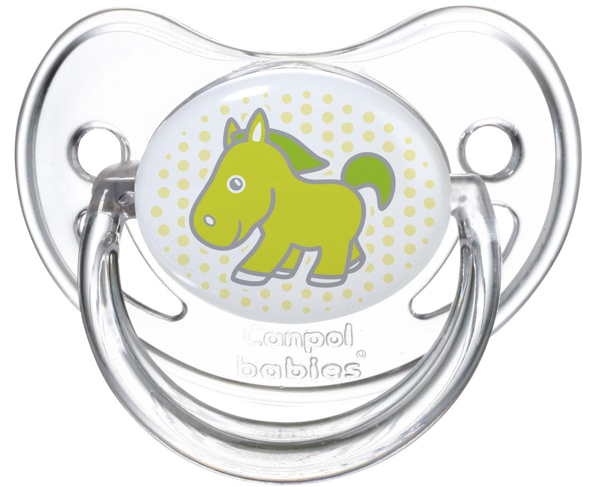 Canpol Babies Пустышка силиконовая ортодонтическая от 6 до 18 месяцев цвет салатовый