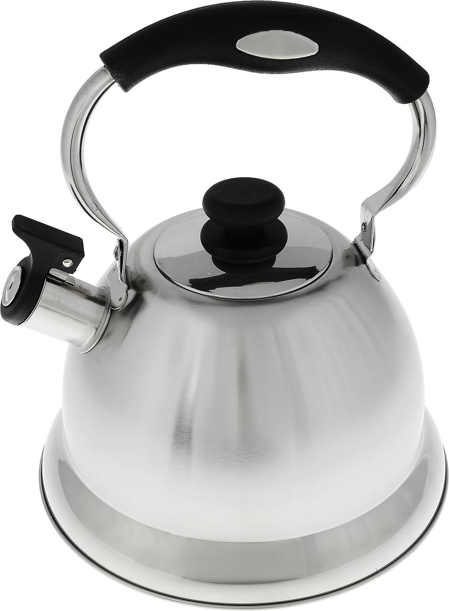 Чайник Termico, со свистком, цвет: серебристый, черный, 2,7 л391602Чайник Termico выполнен из высококачественной нержавеющей стали, что обеспечивает долговечность использования. Внешнее зеркальное покрытие придает изделию изысканный вид. Эргономичная пластиковая ручка делает использование чайника очень удобным и безопасным. Чайник снабжен откидным свистком, который подскажет, когда закипела вода.Не рекомендуется мыть в посудомоечной машине. Пригоден для всех видов плит, кроме индукционных.Высота чайника (без учета крышки и ручки): 14,5 см.Диаметр отверстия: 8,5 см.