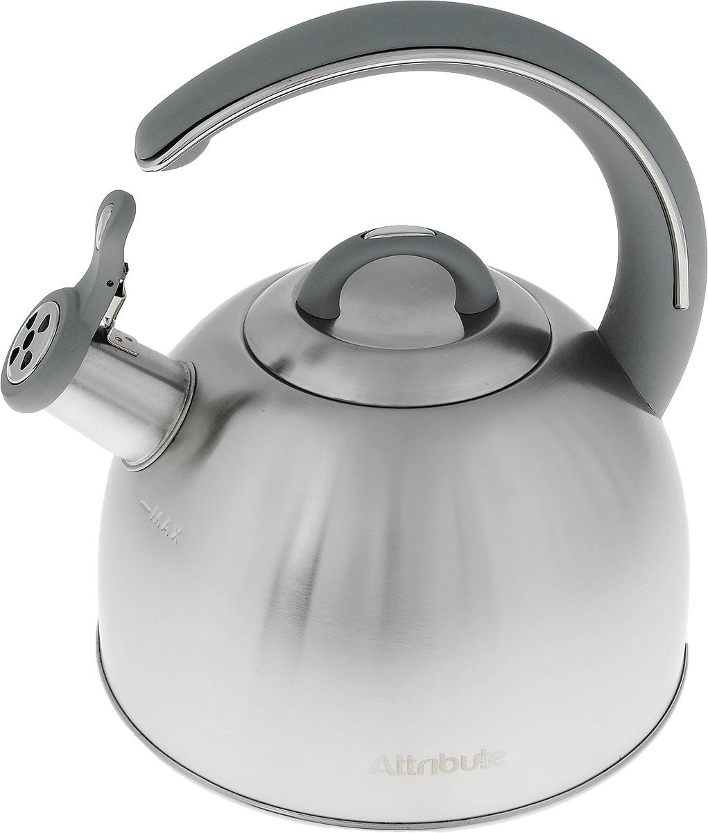 Чайник Attribute, со свистком, 2,8 л68/5/4Чайник Attribute выполнен из высококачественной нержавеющей стали с сатиновой полировкой, что делаетего весьма гигиеничным и устойчивым к износу при длительном использовании. Носик чайника оснащен насадкой-свистком, что позволит вам контролировать процесс подогрева или кипячения воды. Капсулированное дно способствует высокой теплопроводности и равномерному распределению тепла. Эстетичный и функциональный, с эксклюзивным дизайном, чайник будет оригинально смотретьсяв любом интерьере.Подходит для всех типов плит, включая индукционные. Можно мыть в посудомоечной машине. Высота чайника (без учета ручки и крышки): 13 см.Высота чайника (с учетом ручки): 24,5 см.Диаметр чайника (по верхнему краю): 10 см.
