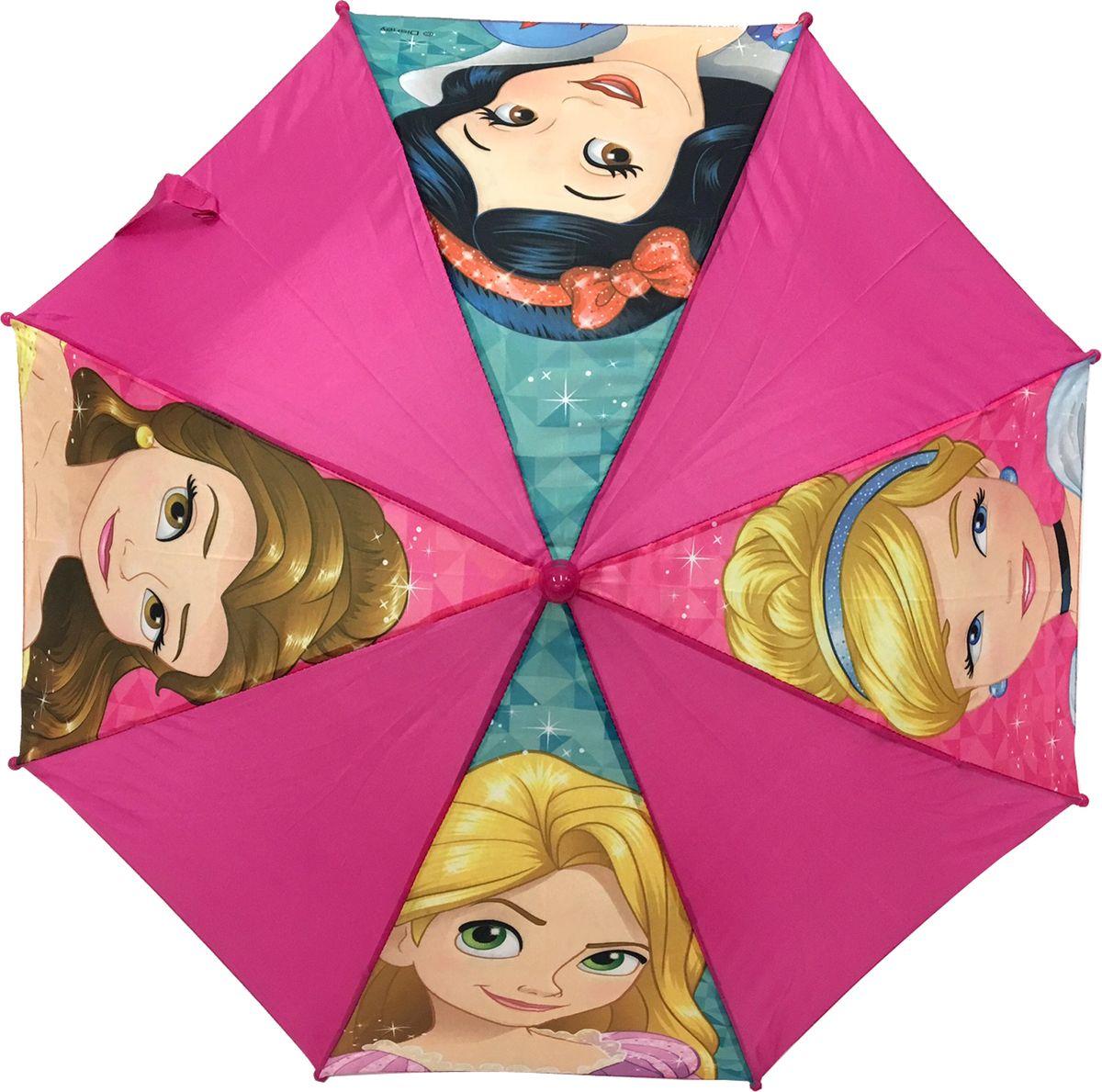 Зонт-трость для девочки Disney Princess, механический, цвет: розовый. 3479Пуссеты (гвоздики)Компактный детский зонтик-трость Disney Princess станет замечательным подарком и защитит вашу принцессу не только от дождя, но и от солнца. Красочный дизайн зонтика поднимет настроение и станет незаменимым атрибутом прогулки. Ребенок сможет сам открывать и закрывать зонтик, благодаря легкому механизму, а оригинальная расцветка зонтика привлечет к себе внимание. Тип механизма: механика (открывается и закрывается модель с помощью нажатия на кнопку). Конструкция зонта: зонт-трость.