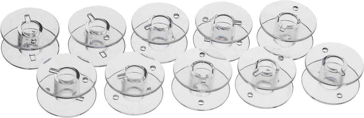 Шпульки Hemline для швейных машин Janome/New Home, 10 штFTN 22Шпульки Hemline подходят для швейных машин Janome/New Home, а также к швейным машинам Elna (Janome) с горизонтальной челночной системой. Изготовлены из прозрачного пластика. Пластиковые шпульки заменяют металлические шпульки, которыми снабжены машинки. Размер: 2 х 2 х 1 см.