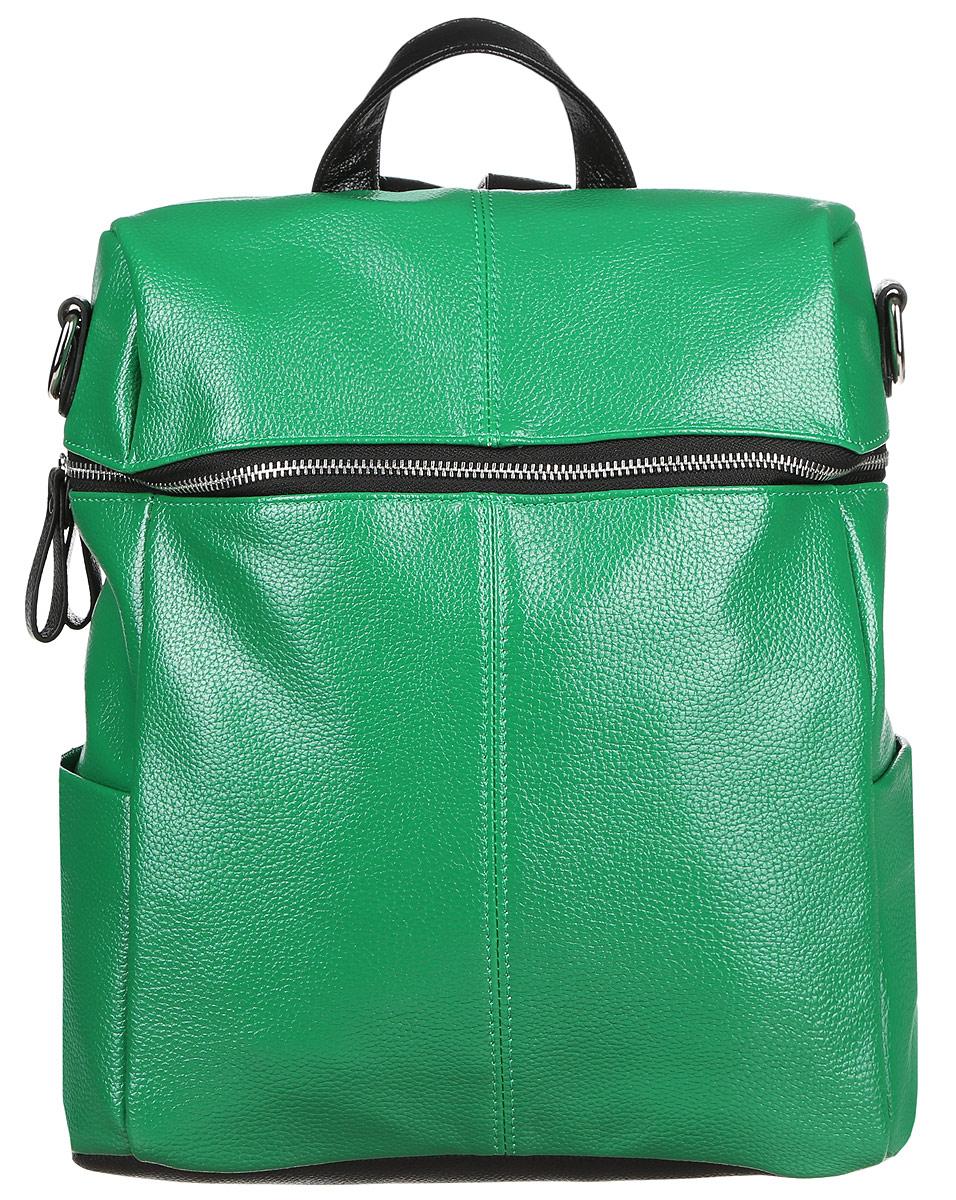 Рюкзак женский OrsOro, цвет: зеленый. D-243/21S76245Стильный рюкзак OrsOro, выполнен из экокожи и оснащен двумя плечевыми регулируемыми ремнями на спинке и удобной ручкой для переноски. Изделие закрывается на застежку-молнию, внутри имеет одно вместительное отделение с одним накладным карманом для телефона и мелочей и одним прорезным карманом на застежке-молнии. С тыльной стороны изделия имеется прорезной карман на застежке-молнии. Рюкзак оснащен также двумя боковыми карманами для мелочей.Сумка-рюкзак OrsOro - это выбор молодой, уверенной, стильной женщины, которая ценит качество и комфорт. Изделие станет изысканным дополнением к вашему образу.