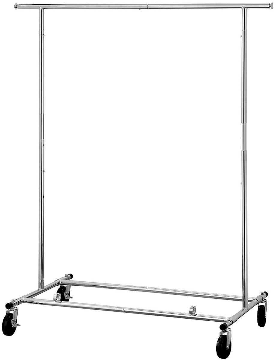 Стойка для одежды Tatkraft Drogo, на колесах складнаяБрелок для ключейTatkraft Drogo Сверхмощная стойка для одежды на колесах складная из хромированной стали, выдерживает вес до 100 кг, регулируемая высота (144-169 см) и длина (127,5 - 187), общая длина для вывешивания 1,8 м (2 выдвижные панки по 29 см)