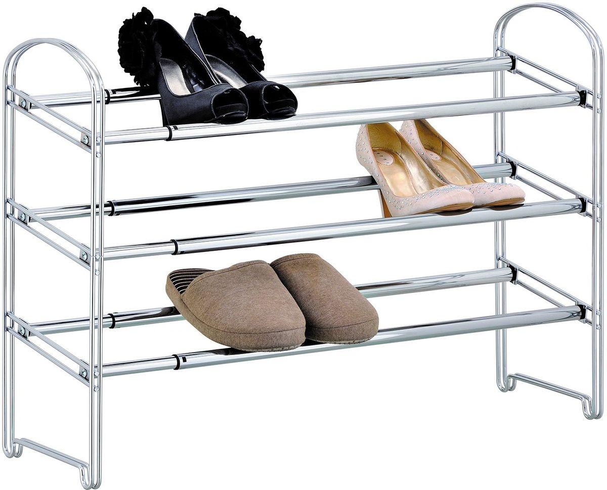 Этажерка для обуви Tatkraft Maestro, трехъярусная1004900000360Этажерка для обуви Tatkraft Maestro - сверхпрочная, раздвижная - может быть удлинена в два раза, размеры 64,5–118,5(Д) х 22,5 (Г) х 53,5 (В) см, быстрая сборка за 5 минут, сильная фиксация, толстые стальные трубы.