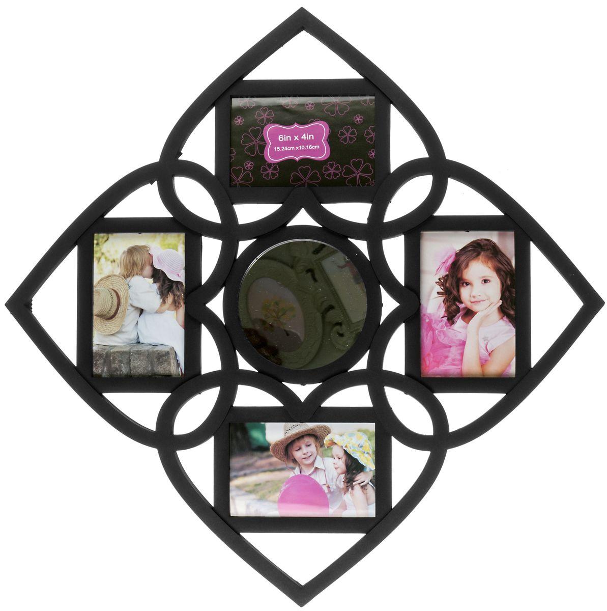 Фоторамка Platinum, с круглым зеркалом, цвет: черный, на 4 фотоBIN-1122552-Black-ЧёрныйФоторамка Platinum - прекрасный способ красиво оформить ваши фотографии. Фоторамка выполнена из пластика и защищена стеклом. Фоторамка-коллаж представляет собой четыре фоторамки для фото одного размера оригинально соединенных между собой. В центре фоторамки имеется круглое зеркало. Такая фоторамка поможет сохранить в памяти самые яркие моменты вашей жизни, а стильный дизайн сделает ее прекрасным дополнением интерьера комнаты. Фоторамка подходит для фотографий 10 х 15 см.Общий размер фоторамки: 59 х 59 см.
