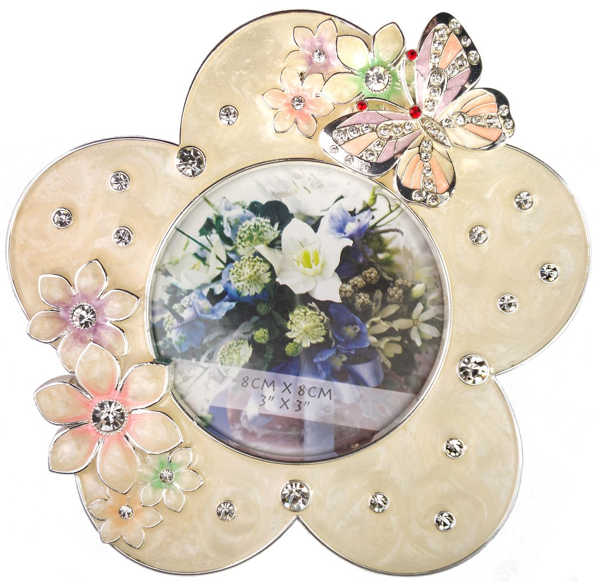 Фоторамка Platinum Цветы, цвет: розовый, 8 х 8 см. PF10562B-352190 PS 983-10Декоративная фоторамка Platinum Цветы выполнена из металла в виде цветочка с бабочкой. Фоторамка украшена стразами и декоративной глазурью. Изысканная и эффектная, эта потрясающая рамочка покорит своей красотой и изумительным качеством исполнения. Фоторамка подходит для фотографий 8 х 8 см.Общий размер фоторамки: 13 х 1,5 х 13 см.