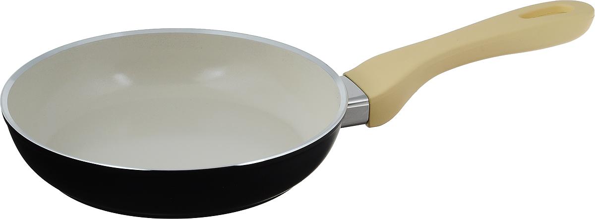 Сковорода Attribute Avorio, с керамическим покрытием. Диаметр 20 см74-0120Сковорода Attribute Avorio изготовлена из алюминия с высококачественным керамическим покрытием. Керамика не содержит вредных примесей ПФОК, что способствует здоровому и экологичному приготовлению пищи. Кроме того, с таким покрытием пища не пригорает и не прилипает к стенкам, поэтому можно готовить с минимальным добавлением масла и жиров. Гладкая, идеально ровная поверхность сковороды легко чистится, ее можно мыть в воде руками или вытирать полотенцем.Эргономичная ручка специального дизайна выполнена из пластика с покрытием soft-touch, удобна в эксплуатации.Сковорода подходит для использования на всех типах плит, но кроме индукционных. Также изделие можно мыть в посудомоечной машине.Высота стенки: 4,3 см. Длина ручки: 19 см.