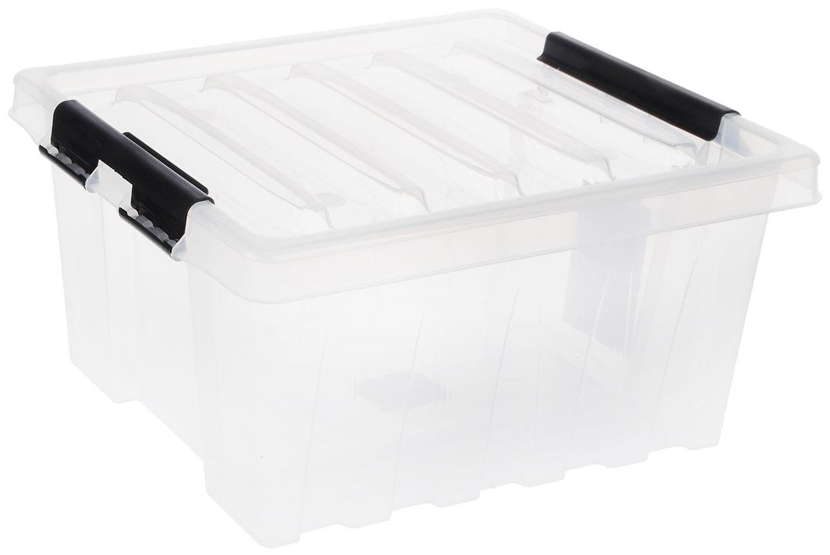 Контейнер для хранения Роксор, цвет: прозрачный, черный, 16 л1004900000360Прозрачный контейнер Роксор выполнен из полипропилена, предназначен для хранения пищевых продуктов, инструментов, швейных принадлежностей, бумаг и многого другого. Универсальный контейнер для хранения с крышкой оснащен оригинальными ручками-фиксаторами, которые надежно и плотно удерживают крышку в закрытом положении. Толстые стенки и ребра жесткости придают ящикам особую прочность, уменьшая риск повреждения как самого ящика, так и его содержимого.