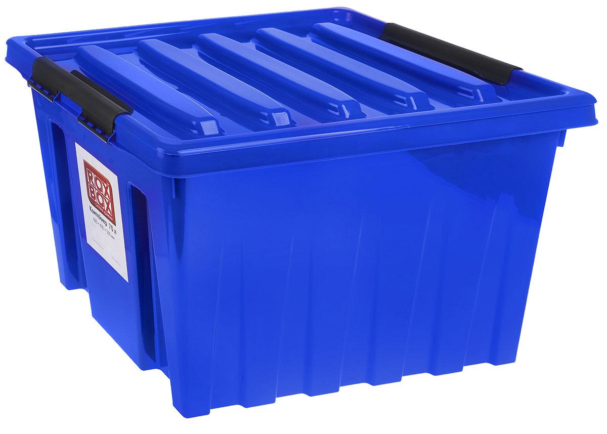 Контейнер для хранения Роксор, цвет: синий, черный, 50 л74-0060Контейнер Роксор выполнен из полипропилена, предназначен для хранения пищевых продуктов, инструментов, швейных принадлежностей, бумаг и многого другого. Универсальный контейнер для хранения с крышкой оснащен роликами и оригинальными ручками-фиксаторами, которые надежно и плотно удерживают крышку в закрытом положении. Толстые стенки и ребра жесткости придают ящикам особую прочность, уменьшая риск повреждения как самого ящика, так и его содержимого.