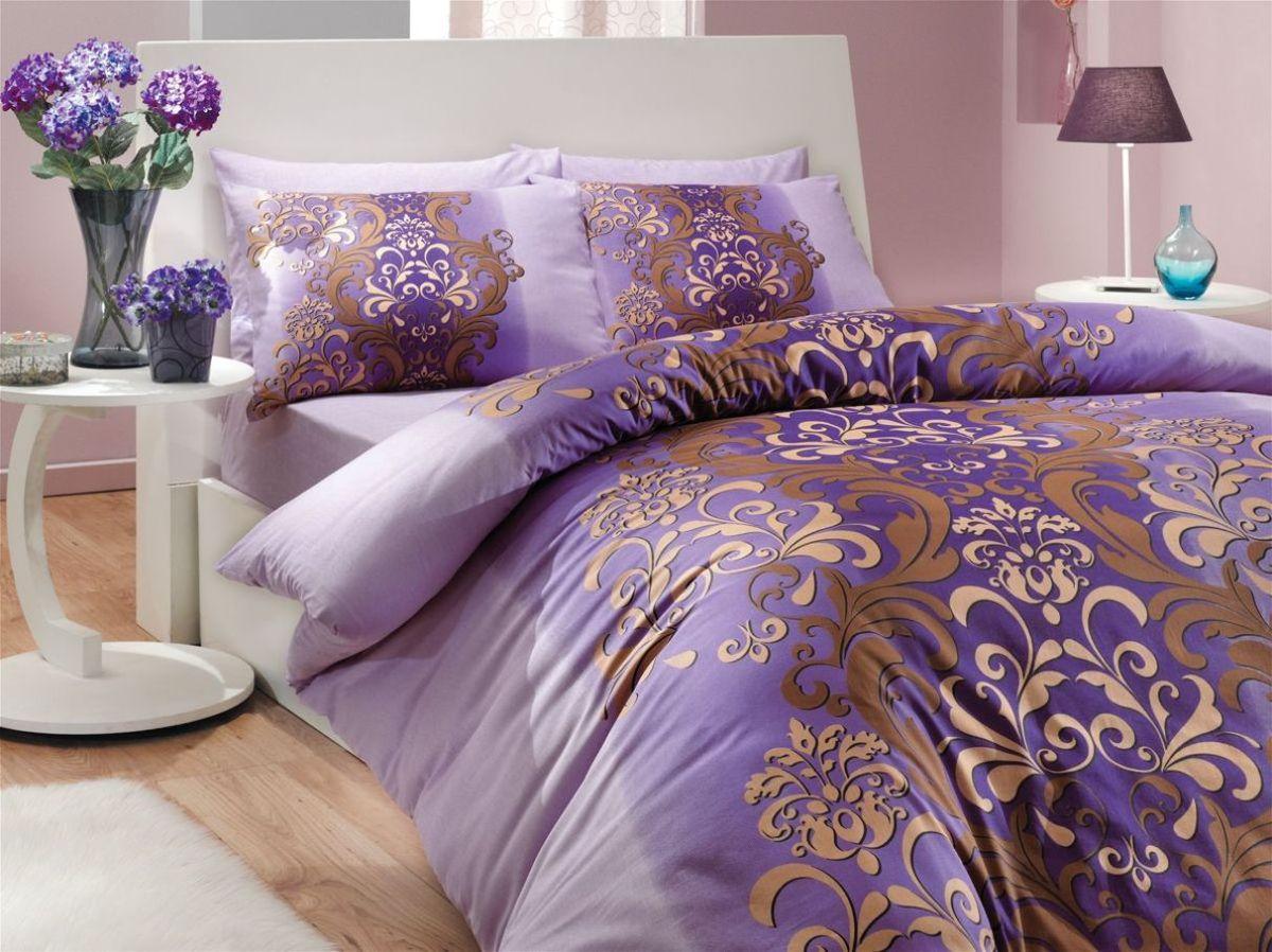 Комплект белья Hobby Home Collection Almeda, 2-спальный, наволочки 70x70, цвет: фиолетовый391602Комплект белья Hobby Home Collection состоит из простыни, пододеяльника и 4 наволочек. Белье выполнено из ранфорса - это ткань из 100% натурального хлопка, которая легко стирается, практичнее льна, подстраивается под температуру воздуха - зимой на таком белье тепло, летом - прохладно. Мягкость и нежность материала создает чувство комфорта и защищенности. У хлопка хорошая проводимость тепла, поэтому постельное белье из него может надолго оставаться свежим. Постельное белье с оригинальными дизайнами станет отличным выбором для людей, стремящихся всегда быть стильными.
