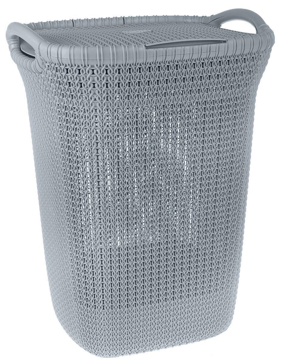 Корзина для белья Curver Knit, цвет: серый, 57 лa030041Корзина для белья Curver Knit изготовлена из пластика с эффектом плетения. Изделие снабжено двумя ручками для удобной переноски и плотно закрывающейся откидной крышкой. Благодаря перфорированным стенкам воздух проникает внутрь, что способствует вентиляции. Такая корзина прекрасно подойдет для хранения белья перед стиркой. Стильный дизайн впишется в интерьер любой ванной комнаты.