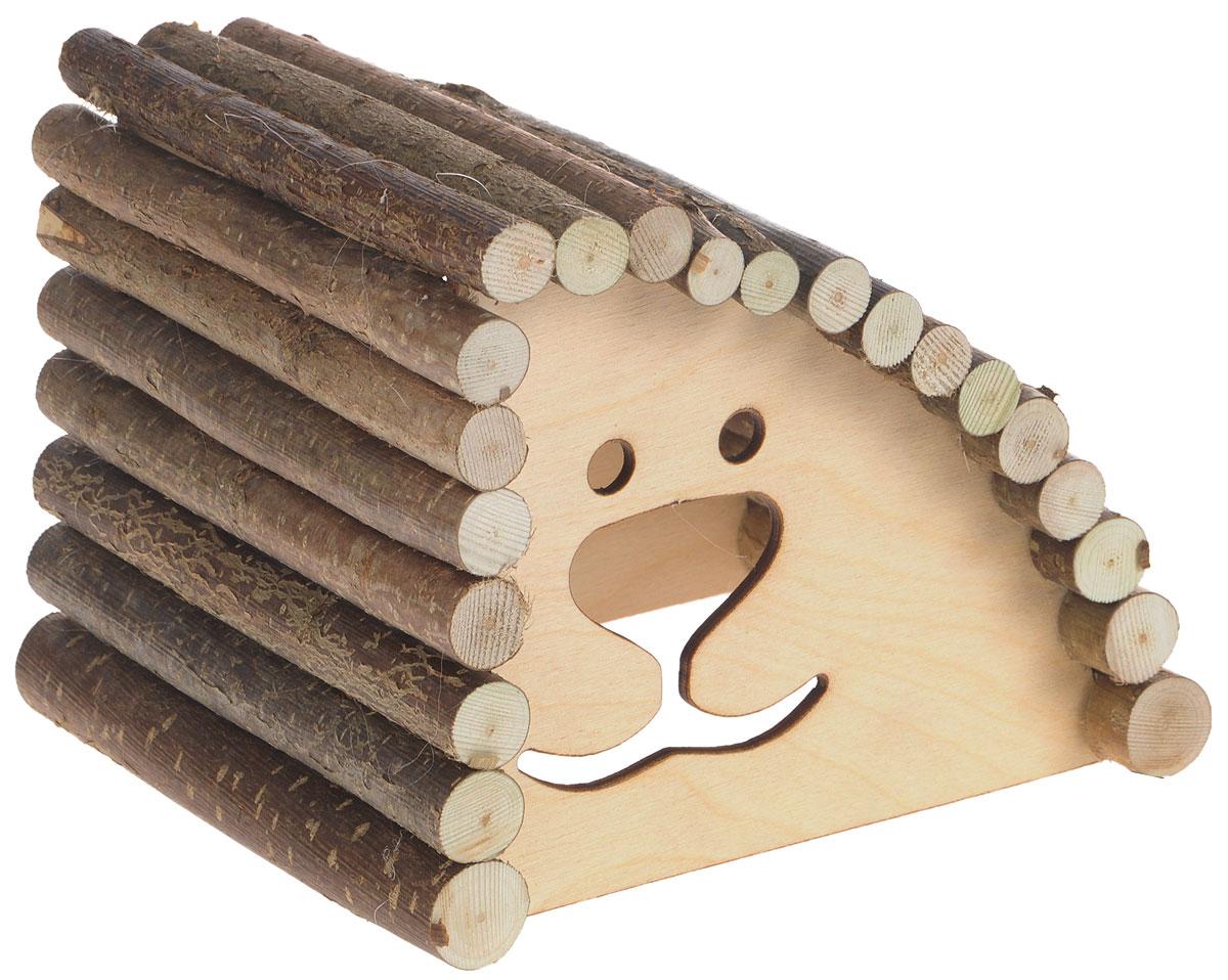 Домик для грызунов Zoobaloo Геркулес, правый угол, 18 х 15 х 14 см0120710Zoobaloo Геркулес - это комфортный деревянный домик для грызунов. Домик послужит надежным укрытием вашему любимцу, а также идеальным местом для сна и отдыха. Домик весьма просторный, имеет оригинальную округлую крышу, изготовленную из прутьев орешника, и удобный вход.Домик позволит вашему грызуну ощутить максимальный комфорт и уют.