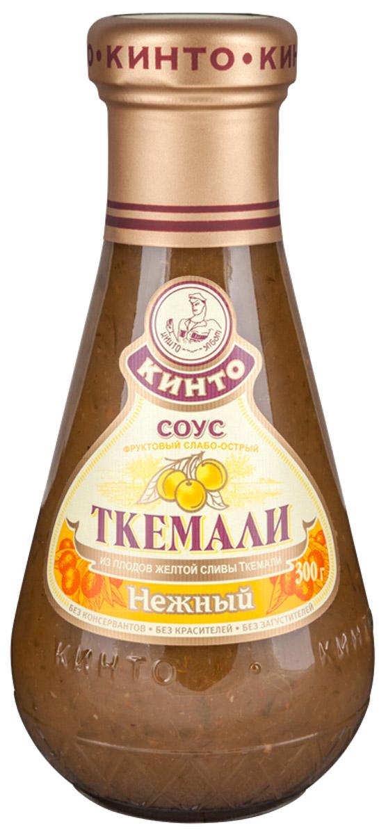 Кинто Ткемали нежный соус фруктовый, 300 г0120710Соусы ткемали занимают одно из почетных мест в грузинской кухне и готовятся из различных видов слив, от зеленой до терна. Соусы ткемали от Кинто удивят гурманов изысканными натуральными и приготовленными по традиционным рецептам вкусами. Подобно первым лучам солнца, этот соус добавит каждому блюду свежести и изысканности.
