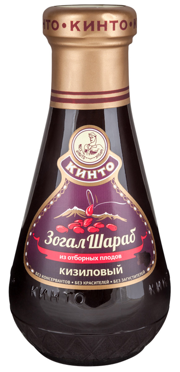 Кинто ЗогалШараб соус кизиловый, 370 г0120710Соус ЗогалШараб производится исключительно из отборных плодов дикорастущего кизила без добавления искусственных красителей и консервантов. В состав соуса входят только концентрат кизилового сока, сахар и вода. Соус из плодов кизила получается очень вкусным, с тонким приятным ароматом и легкой терпкой кислинкой, идеально подходит к стейкам из говядины, ростбифу, отбивным из свиной вырезки, к птице и рыбным блюдам, также к многим салатам и гарнирам. Использовать можно как в горячем, так и в холодном виде.