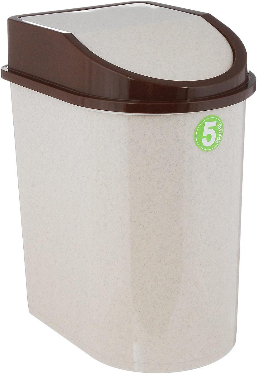 Контейнер для мусора Idea, цвет: бежевый, коричневый, 5 л787502Мусорный контейнер Idea, выполненный из прочного полипропилена (пластика), не боится ударов и долгих лет использования. Изделие оснащено плавающей крышкой, с помощью которой его легко использовать. Крышка плотно прилегает, предотвращая распространение запаха. Вы можете использовать такой контейнер для выбрасывания разных пищевых и непищевых отходов. Контейнер может пригодиться также в ванной комнате или у туалетного столика.