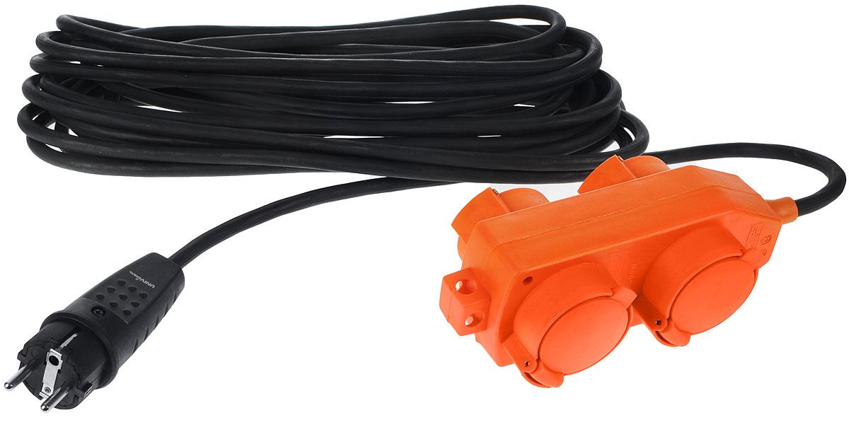 Удлинитель силовой UNIVersal влагозащищенный, 10 м, 4 розетки. 9634131C0043326Силовой удлинитель с заземлением UNIVersal рассчитан на подключение к розетке от одного до четырех электроприборов. Незаменим при строительных и ремонтных работах, когда приборы, требующие электропитание, расположены на удаленном расстояние от розетки до 10 метров. Можно использовать как дома, так и в гараже, на приусадебных участках. Срок службы данного удлинителя долог. Это обеспечивается за счет ряда факторов. Во-первых, есть двойная изоляция провода, защищающая его от механических повреждений. Во-вторых, контакты вилок изготовлены из латуни и покрыты слоем никеля, что не позволяет им долгое время окисляться под воздействием внешней среды. Обеспечивается надежное электрическое соединение с контактами розеток. Слой каучука, покрывающий розетку, повышает прочность изделия и защищает ее от разрушения при ударах о твердые предметы, а его диэлектрические свойства повышают безопасность работы. Характеристики:Материал: пластик, ПВХ, металл.Длина провода: 10 м.Количество розеток: 4 шт.Максимальная мощность: 3500 Вт.Максимальный ток: 16 A.Провод: ПВС 3 х 1,5 мм.Размер упаковки: 37 см х 47 см х 13 см.