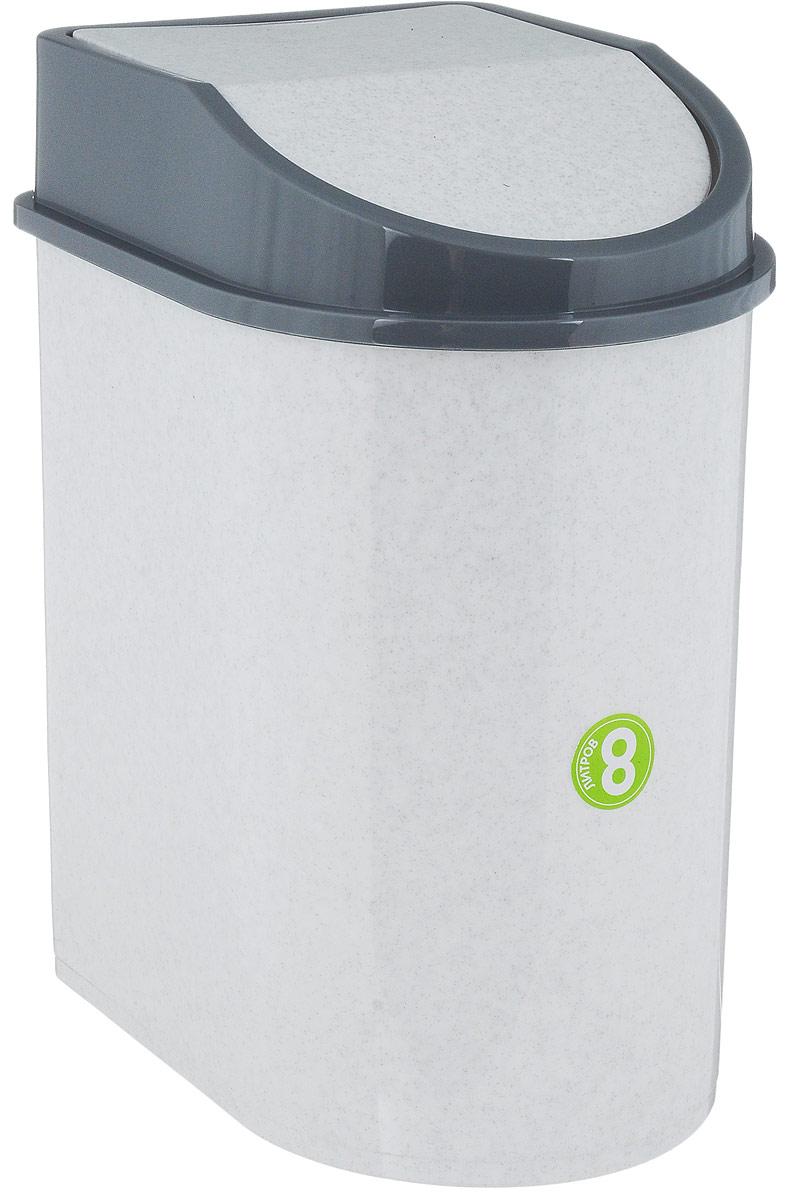 Контейнер для мусора Idea, цвет: мраморный, серый, 8 л234100Мусорный контейнер Idea, выполненный из прочного полипропилена (пластика), не боится ударов и долгих лет использования. Изделие оснащено плавающей крышкой, с помощью которой его легко использовать. Крышка плотно прилегает, предотвращая распространение запаха. Вы можете использовать такой контейнер для выбрасывания разных пищевых и не пищевых отходов. Контейнер может пригодиться также в ванной комнате или у туалетного столика.